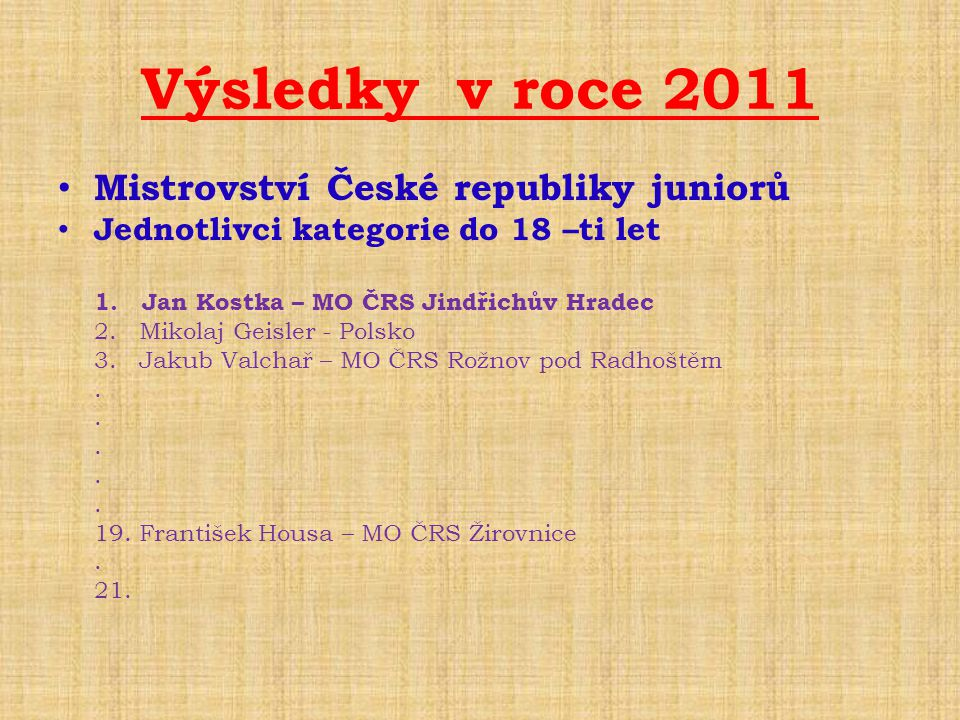 Výsledky v roce 2011 Mistrovství České republiky juniorů