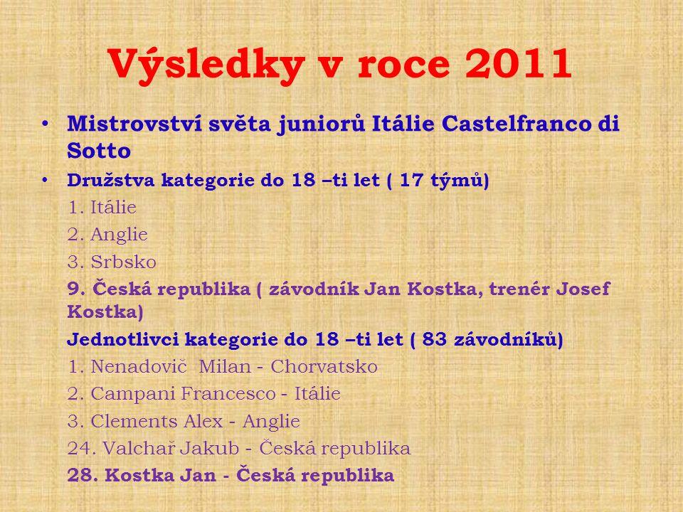Výsledky v roce 2011 Mistrovství světa juniorů Itálie Castelfranco di Sotto. Družstva kategorie do 18 –ti let ( 17 týmů)