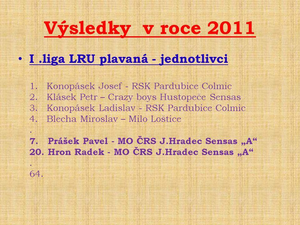 Výsledky v roce 2011 I .liga LRU plavaná - jednotlivci