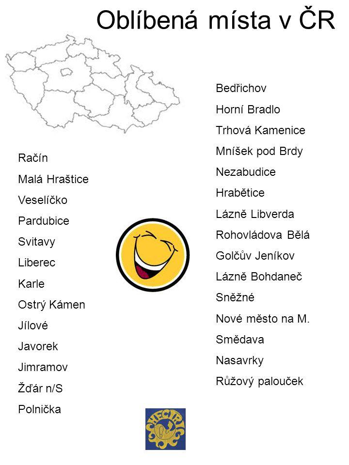 Oblíbená místa v ČR Bedřichov Horní Bradlo Trhová Kamenice