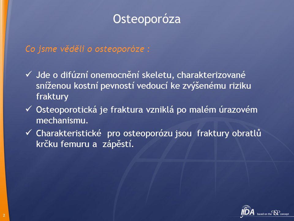 Osteoporóza Co jsme věděli o osteoporóze :