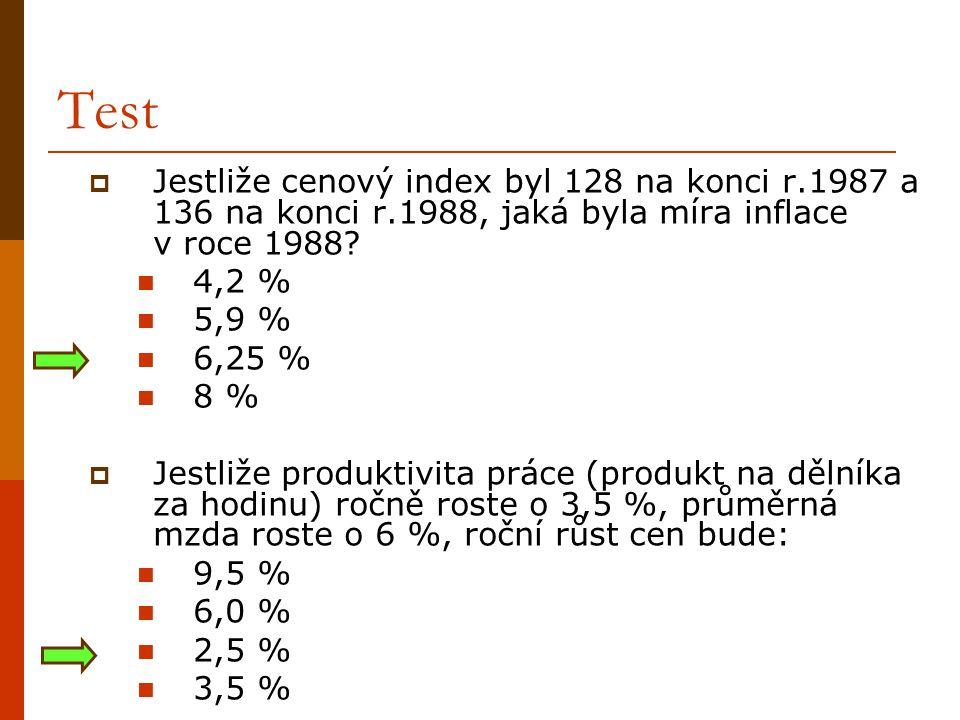 Test Jestliže cenový index byl 128 na konci r.1987 a 136 na konci r.1988, jaká byla míra inflace v roce 1988