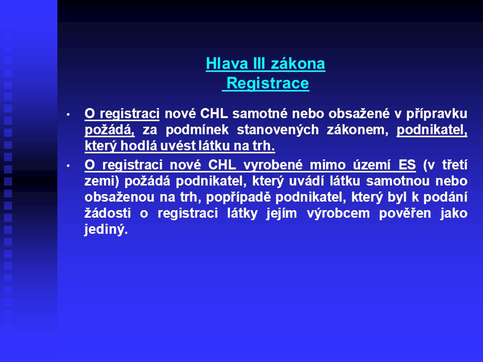 Hlava III zákona Registrace