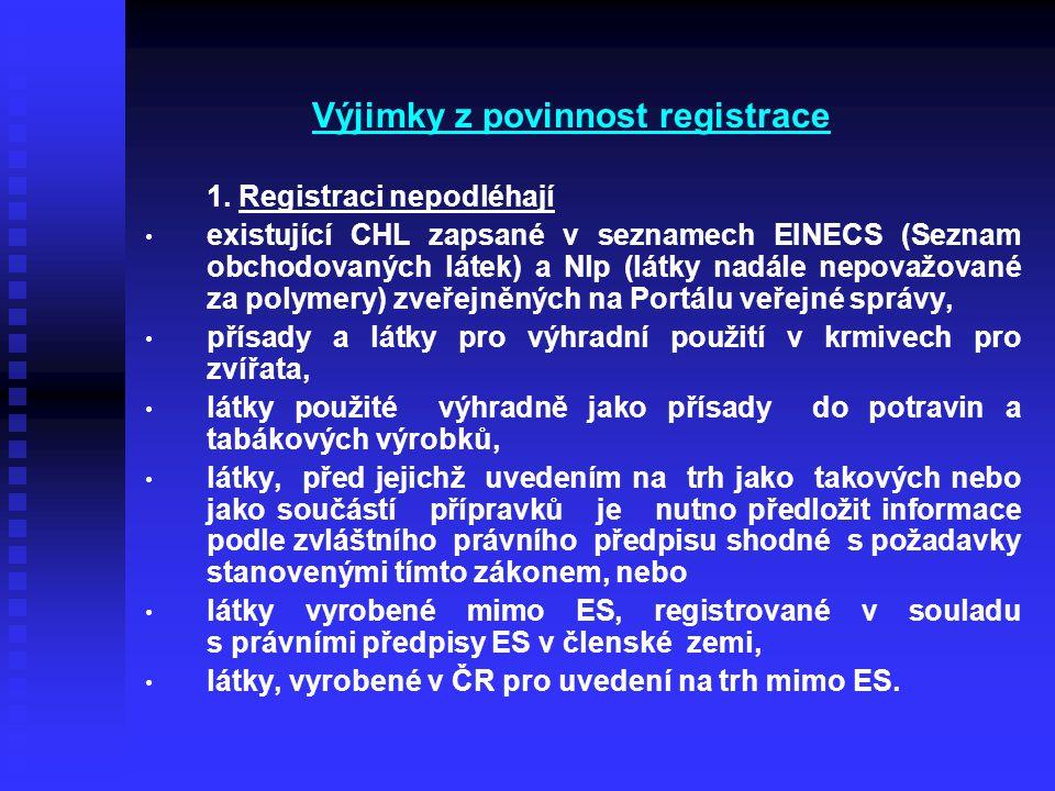 Výjimky z povinnost registrace