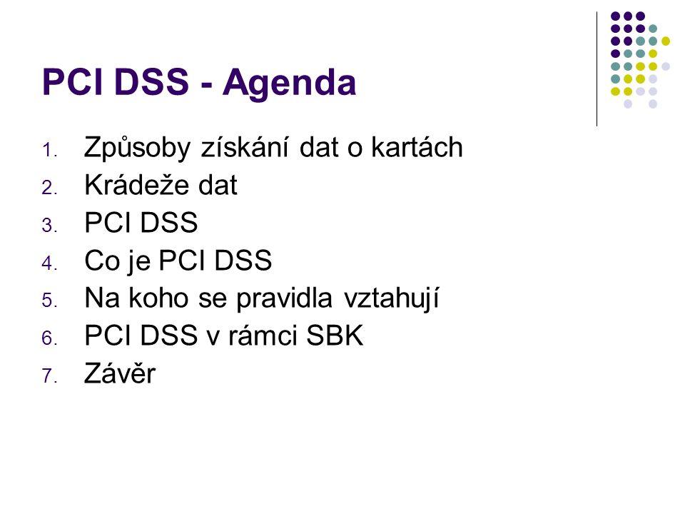 PCI DSS - Agenda Způsoby získání dat o kartách Krádeže dat PCI DSS
