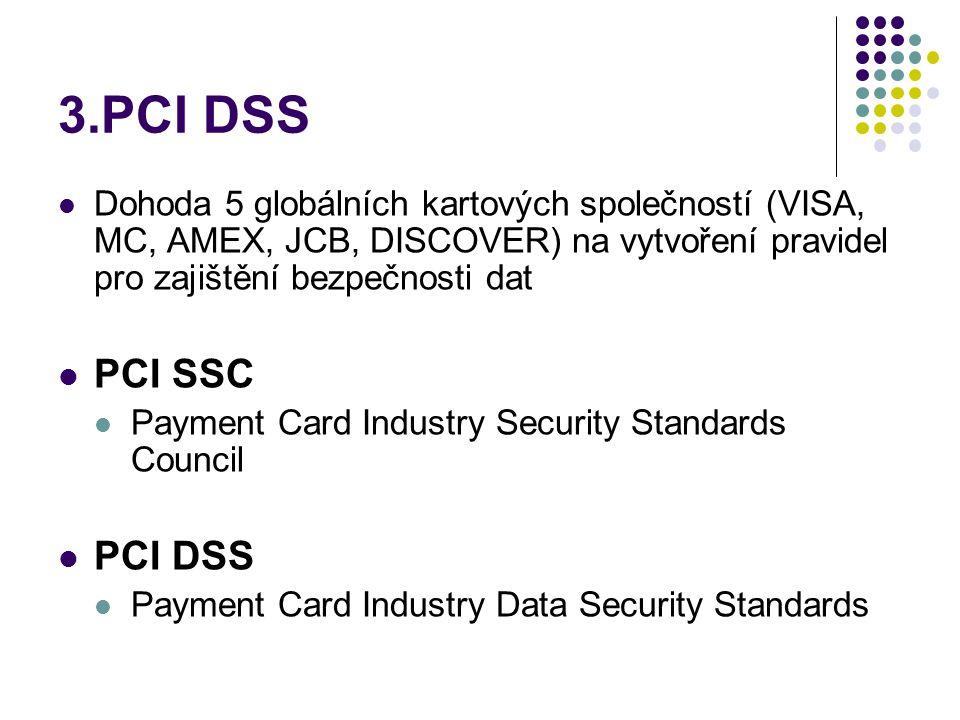 3.PCI DSS Dohoda 5 globálních kartových společností (VISA, MC, AMEX, JCB, DISCOVER) na vytvoření pravidel pro zajištění bezpečnosti dat.