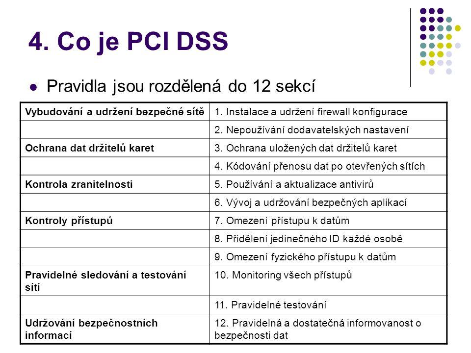 4. Co je PCI DSS Pravidla jsou rozdělená do 12 sekcí