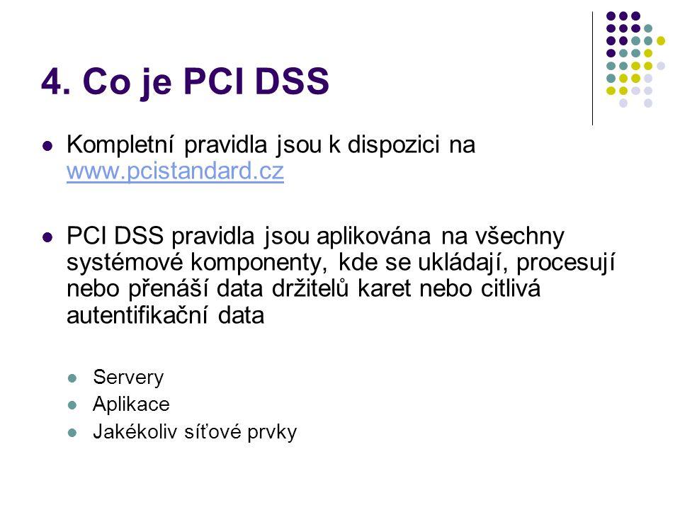 4. Co je PCI DSS Kompletní pravidla jsou k dispozici na www.pcistandard.cz.