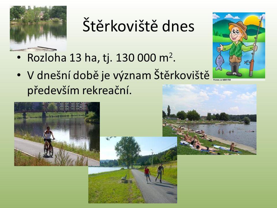 Štěrkoviště dnes Rozloha 13 ha, tj. 130 000 m2.