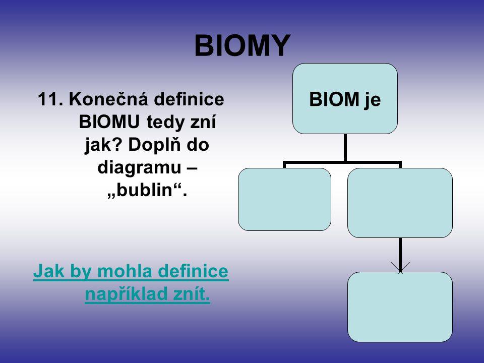 "BIOMY 11. Konečná definice BIOMU tedy zní jak. Doplň do diagramu – ""bublin ."
