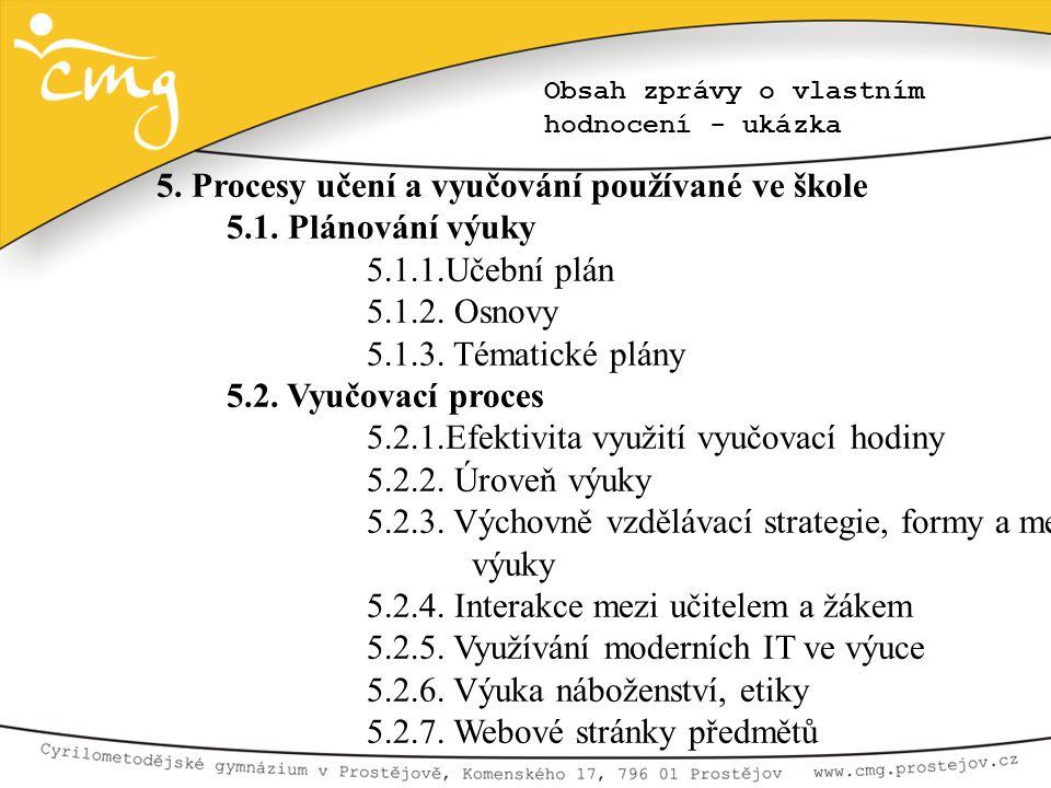 5. Procesy učení a vyučování používané ve škole 5.1. Plánování výuky
