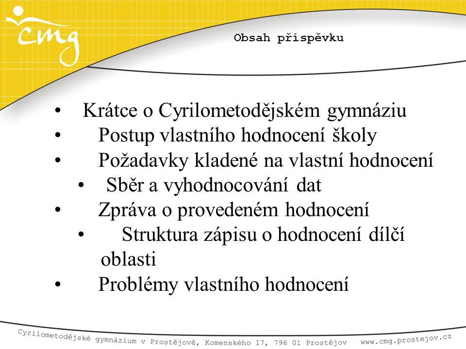 Krátce o Cyrilometodějském gymnáziu Postup vlastního hodnocení školy