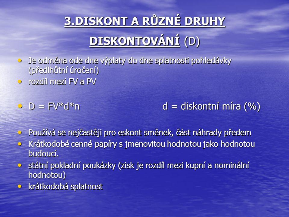 3.DISKONT A RŮZNÉ DRUHY DISKONTOVÁNÍ (D)