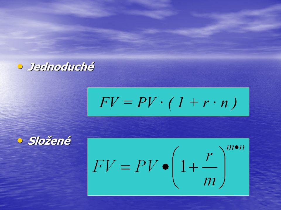 Jednoduché FV = PV · ( 1 + r · n ) Složené