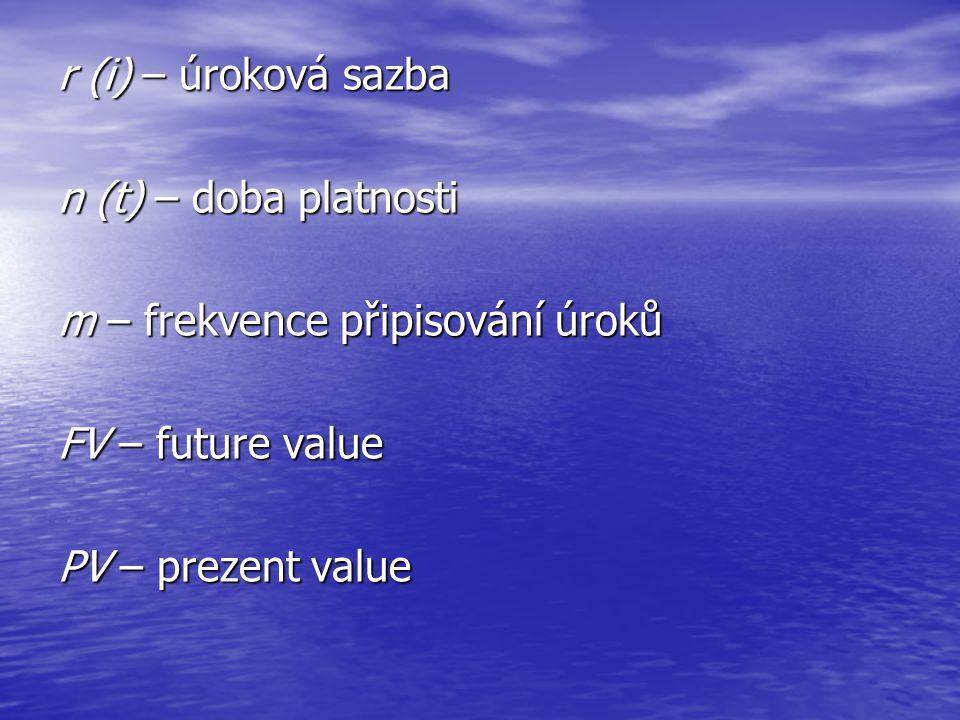 r (i) – úroková sazba n (t) – doba platnosti. m – frekvence připisování úroků. FV – future value.
