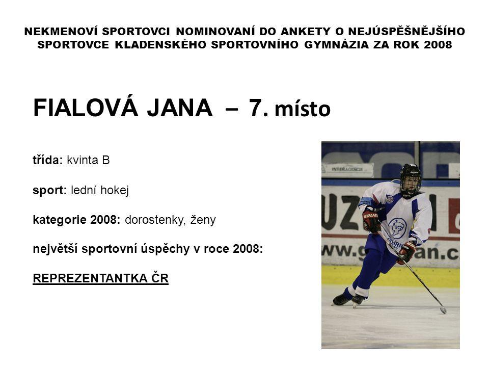 FIALOVÁ JANA – 7. místo třída: kvinta B sport: lední hokej