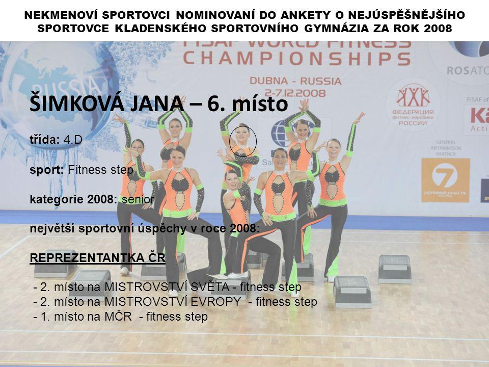 ŠIMKOVÁ JANA – 6. místo třída: 4.D sport: Fitness step