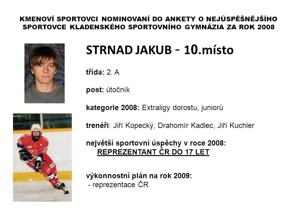 STRNAD JAKUB - 10.místo třída: 2. A post: útočník