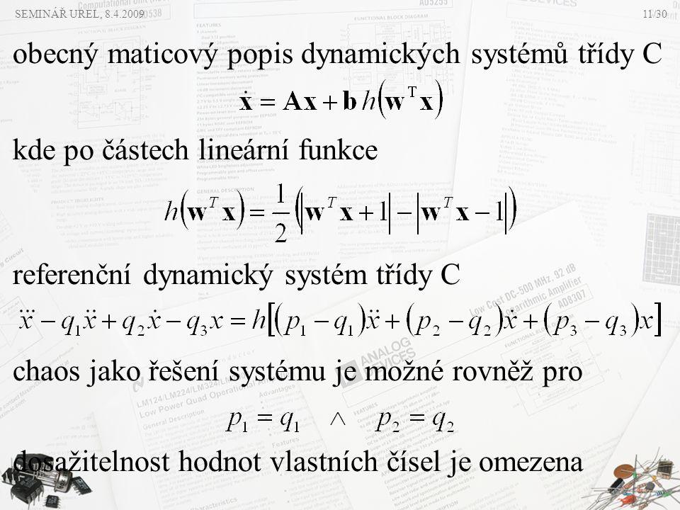 obecný maticový popis dynamických systémů třídy C