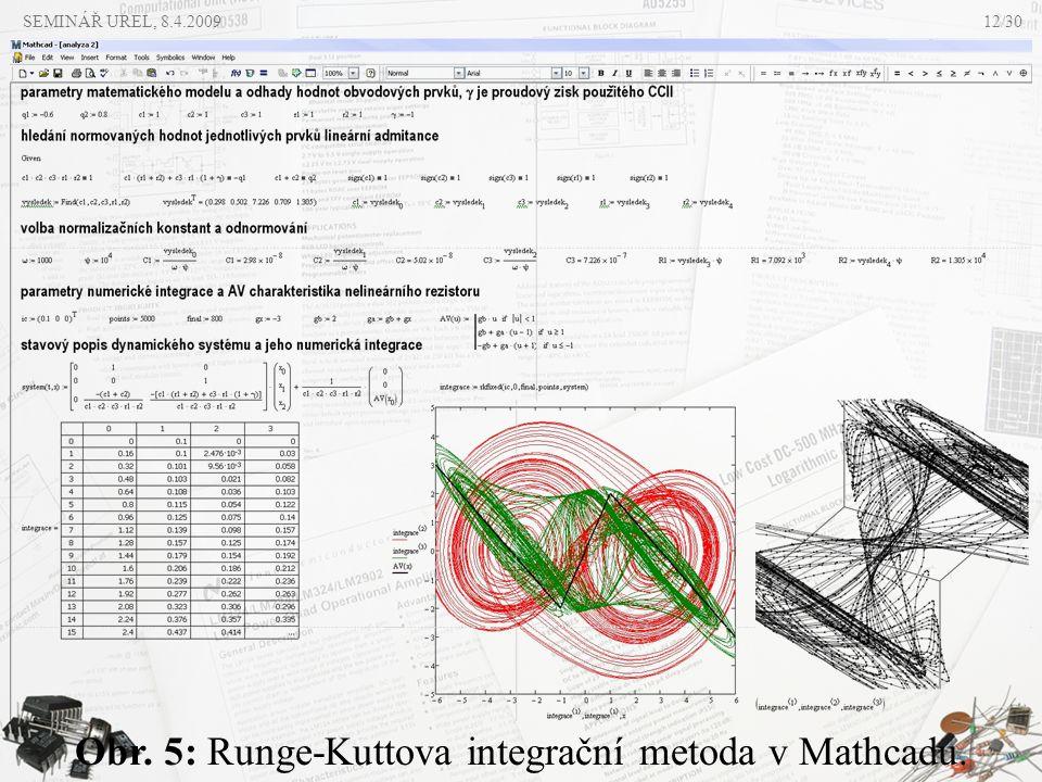 Obr. 5: Runge-Kuttova integrační metoda v Mathcadu.