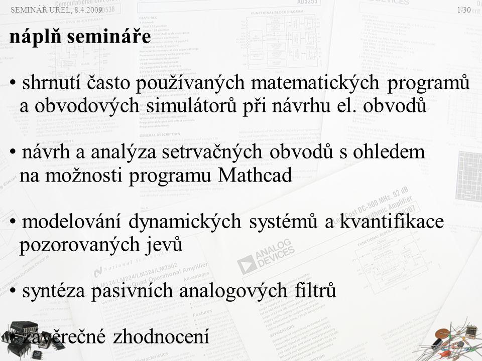 shrnutí často používaných matematických programů