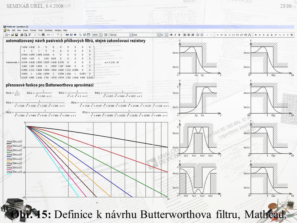 Obr. 15: Definice k návrhu Butterworthova filtru, Mathcad.