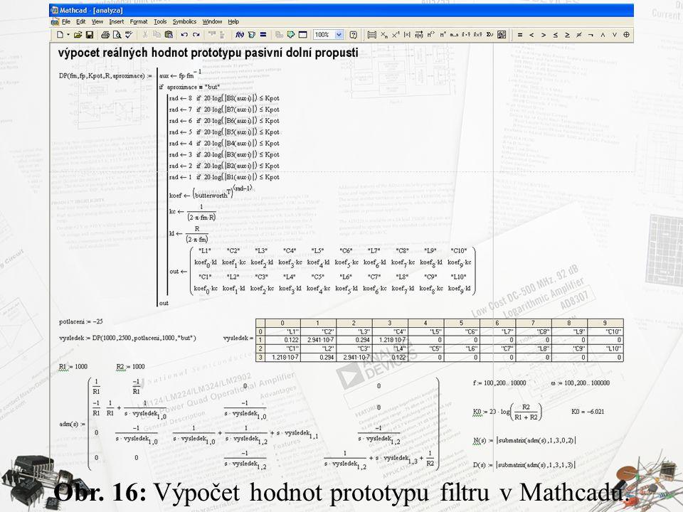 Obr. 16: Výpočet hodnot prototypu filtru v Mathcadu.