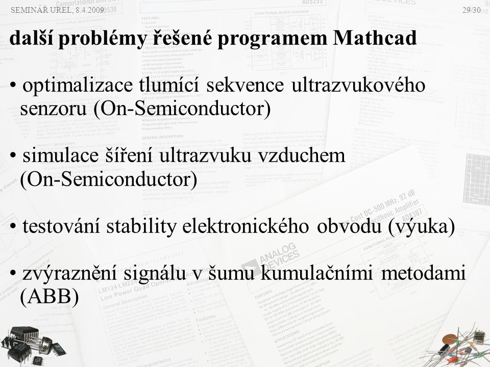 další problémy řešené programem Mathcad
