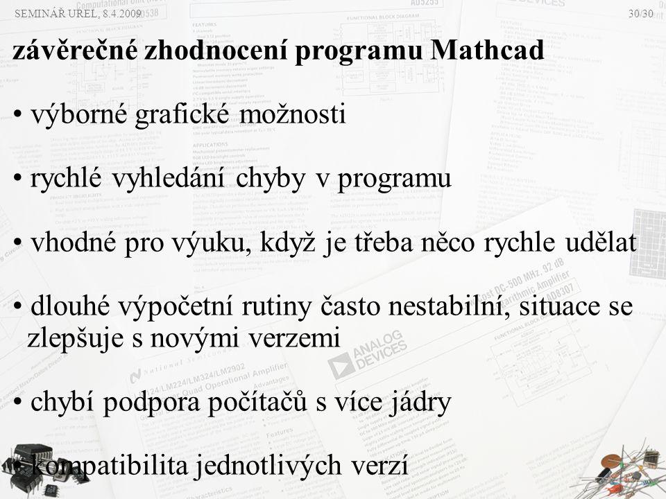 závěrečné zhodnocení programu Mathcad výborné grafické možnosti