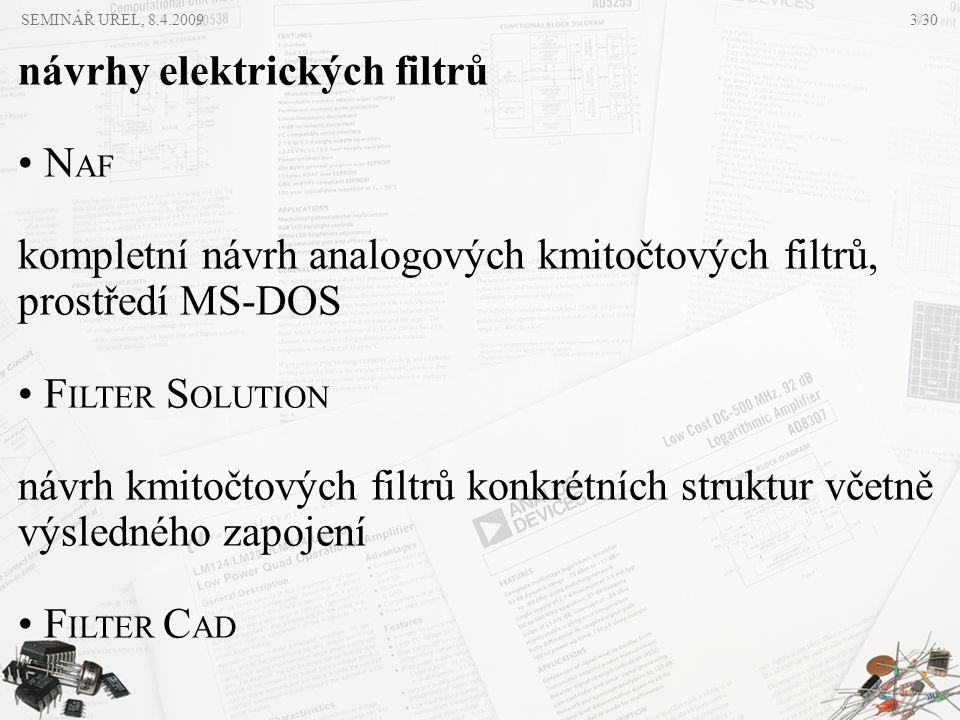 návrhy elektrických filtrů NAF