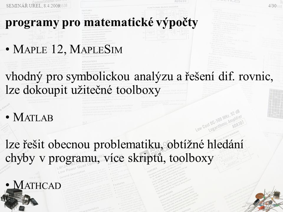 programy pro matematické výpočty MAPLE 12, MAPLESIM