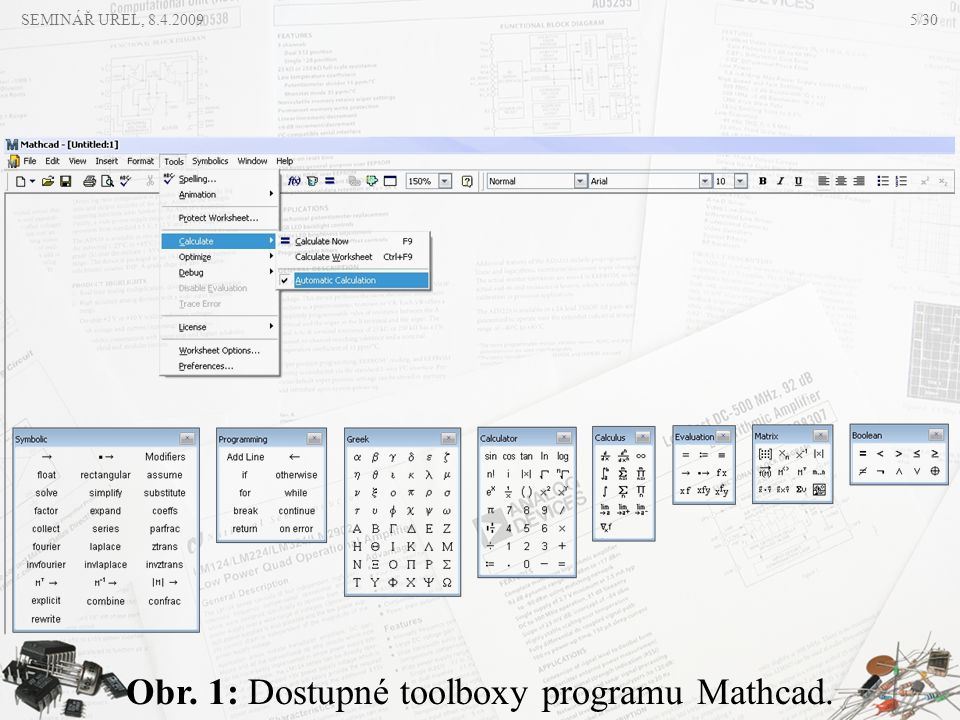 Obr. 1: Dostupné toolboxy programu Mathcad.