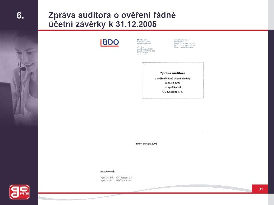 6. Zpráva auditora o ověření řádné účetní závěrky k 31.12.2005 31