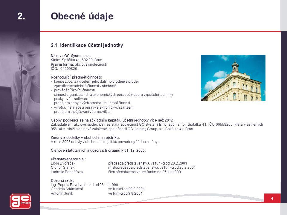 2. Obecné údaje 2.1. Identifikace účetní jednotky 4