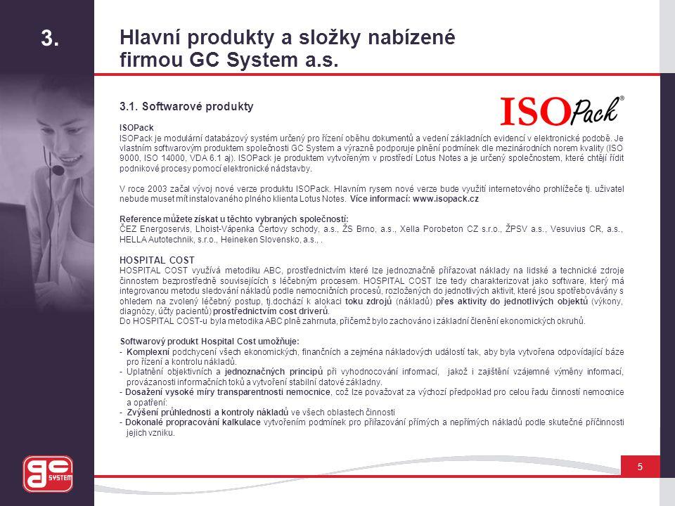 3. Hlavní produkty a složky nabízené firmou GC System a.s.