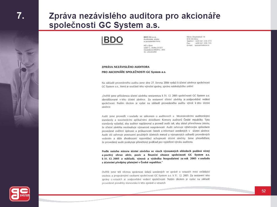 7. Zpráva nezávislého auditora pro akcionáře