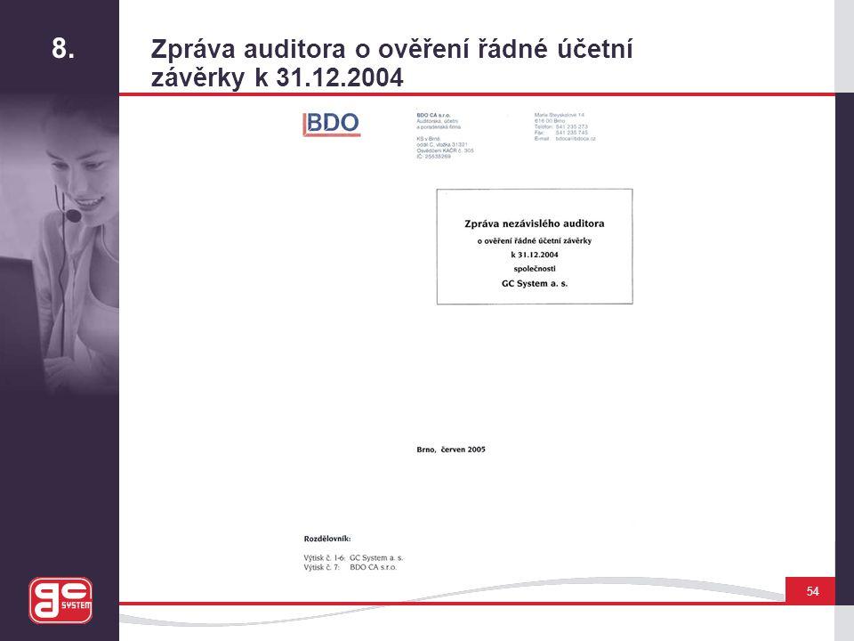 8. Zpráva auditora o ověření řádné účetní závěrky k 31.12.2004 54