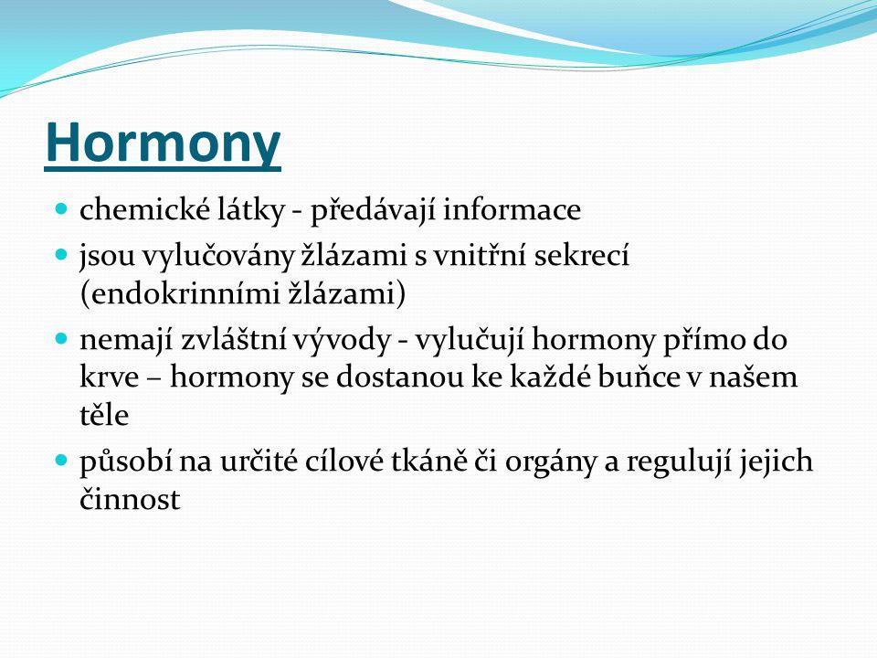 Hormony chemické látky - předávají informace