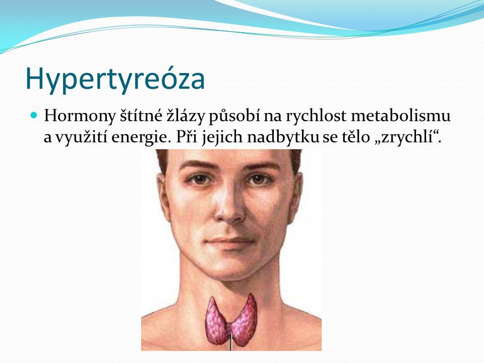 Hypertyreóza Hormony štítné žlázy působí na rychlost metabolismu a využití energie.