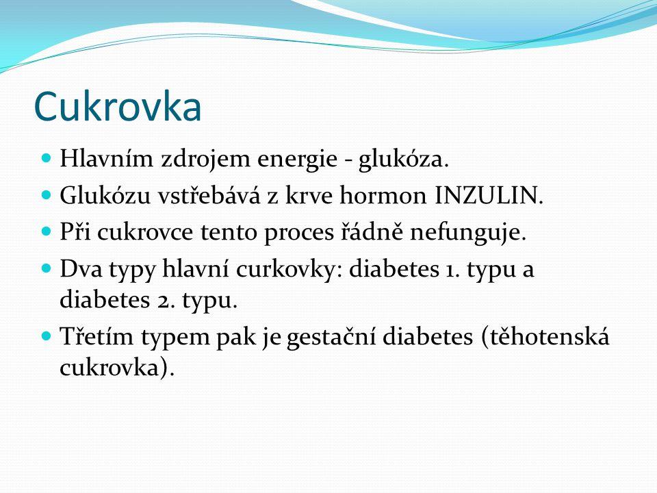 Cukrovka Hlavním zdrojem energie - glukóza.