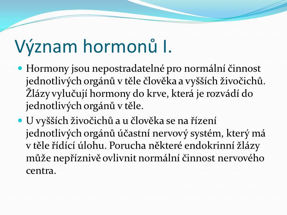 Význam hormonů I.