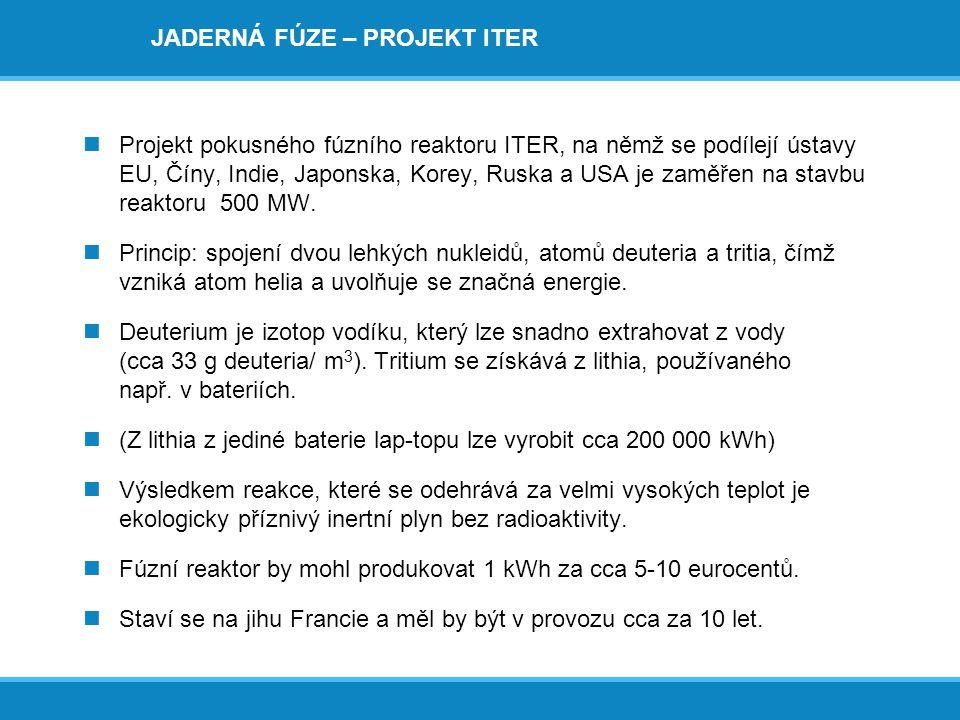 JADERNÁ FÚZE – PROJEKT ITER