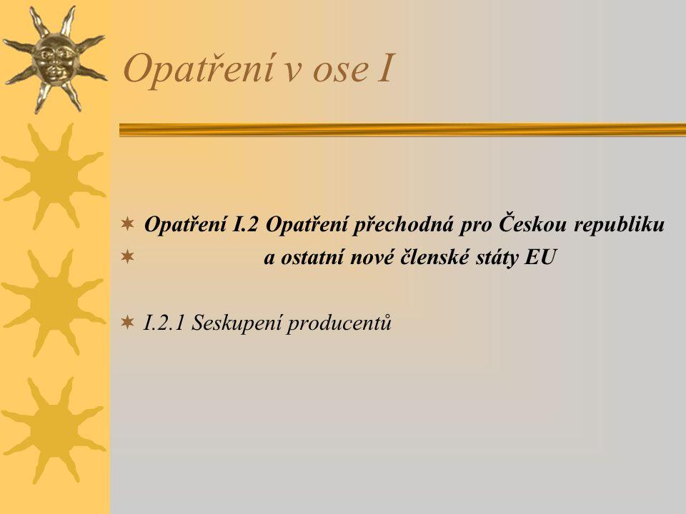 Opatření v ose I Opatření I.2 Opatření přechodná pro Českou republiku
