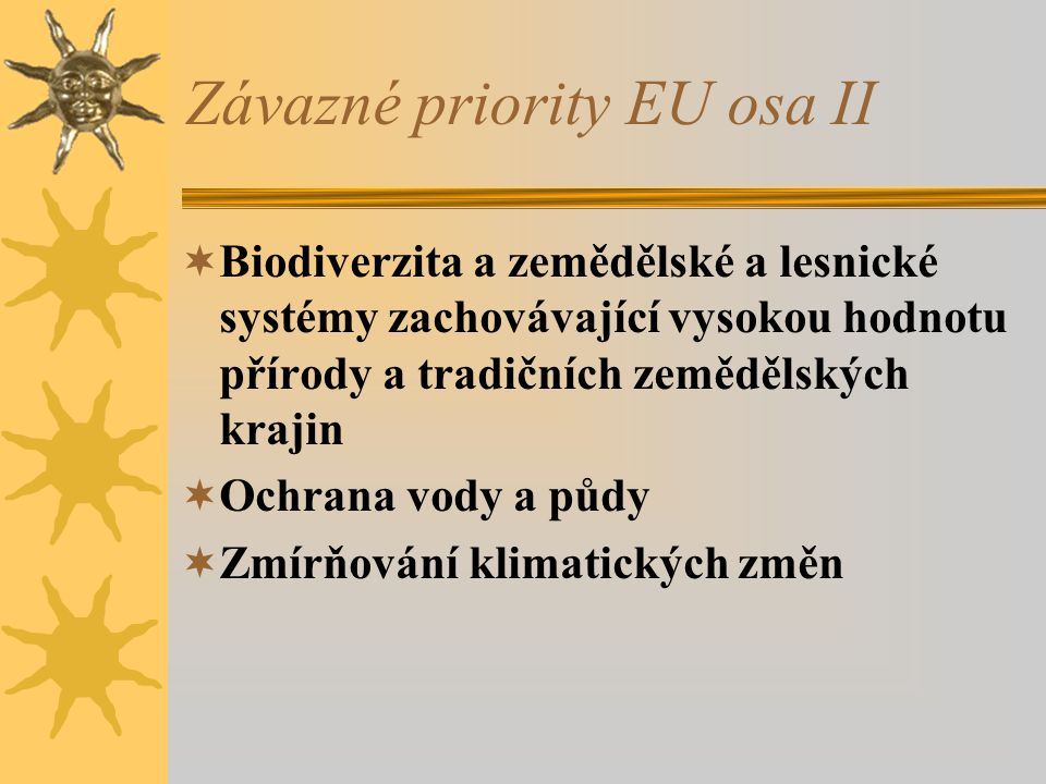 Závazné priority EU osa II
