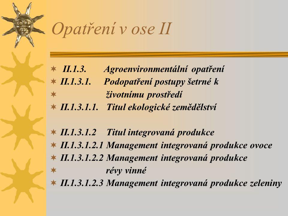 Opatření v ose II II.1.3. Agroenvironmentální opatření