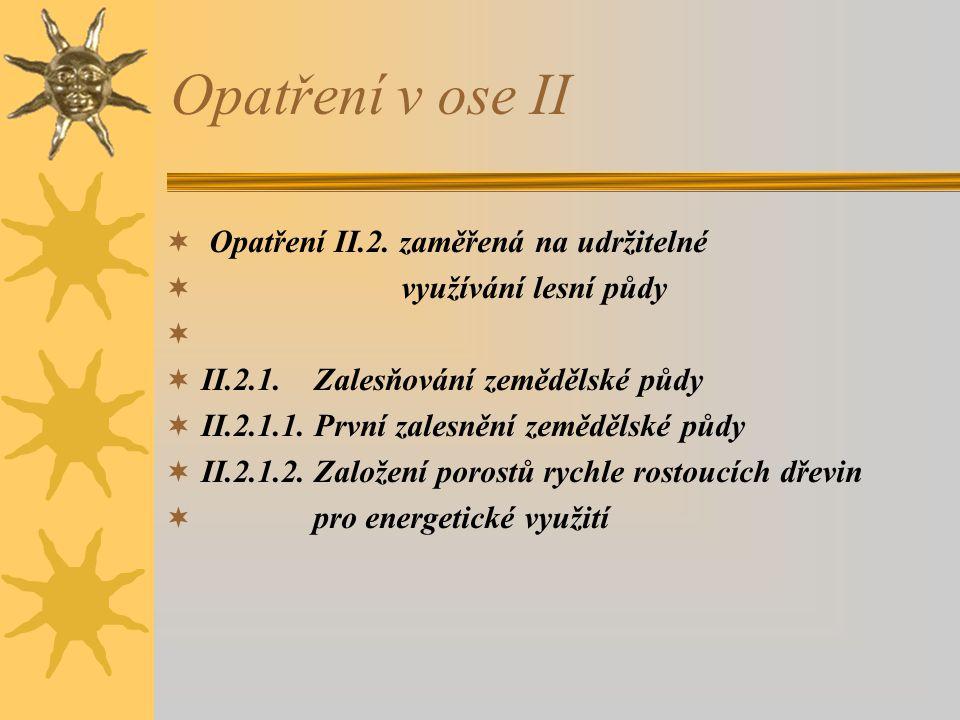 Opatření v ose II Opatření II.2. zaměřená na udržitelné