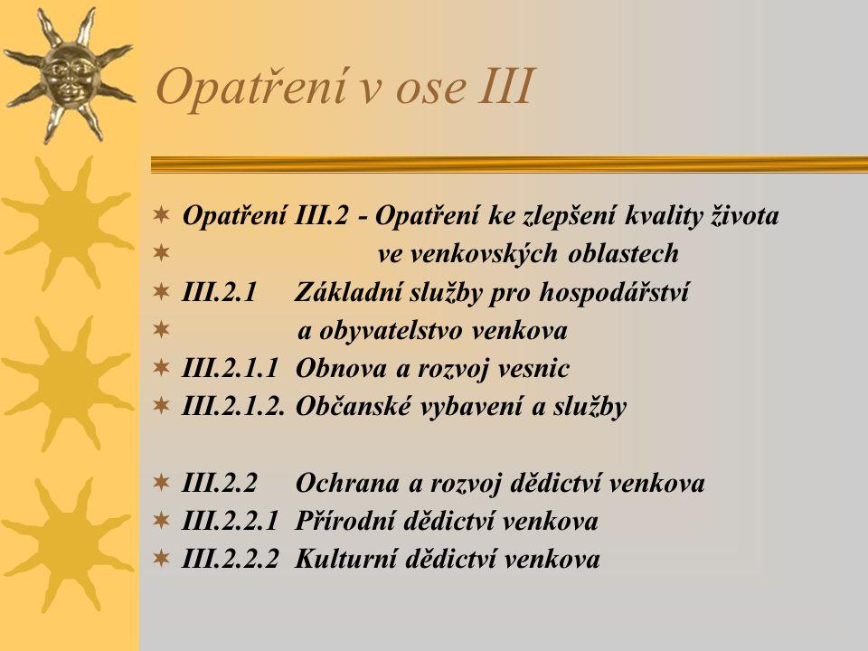 Opatření v ose III Opatření III.2 - Opatření ke zlepšení kvality života. ve venkovských oblastech.