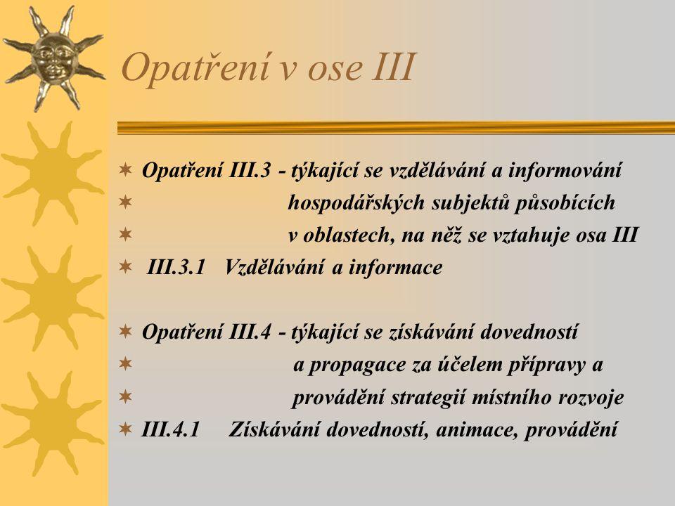 Opatření v ose III Opatření III.3 - týkající se vzdělávání a informování. hospodářských subjektů působících.