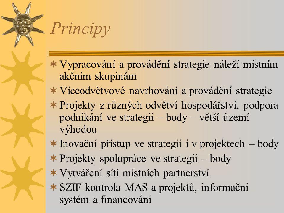 Principy Vypracování a provádění strategie náleží místním akčním skupinám. Víceodvětvové navrhování a provádění strategie.