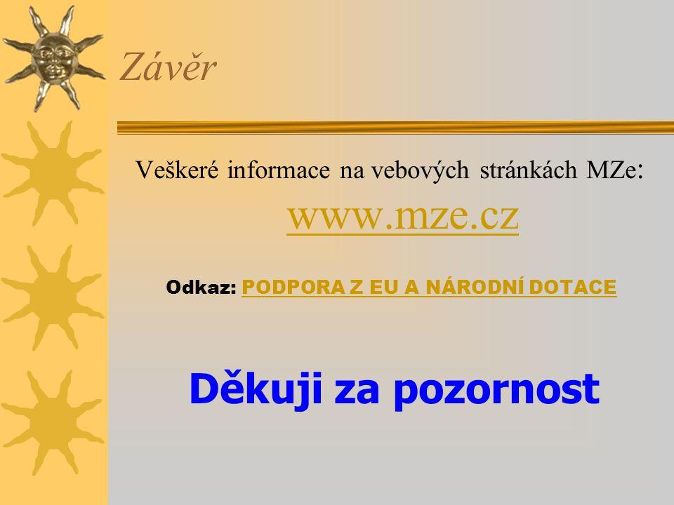 Veškeré informace na vebových stránkách MZe: www.mze.cz